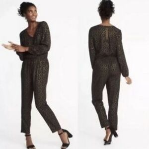NWT Old Navy Metallic Gold Brocade Print Jumpsuit